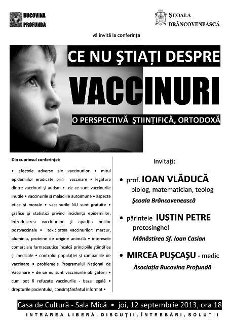 Ce nu ştiaţi despre vaccinuri - o perspectiva ştiinţifică, ortodoxă (conferinţă, Suceava, 12 septembrie)