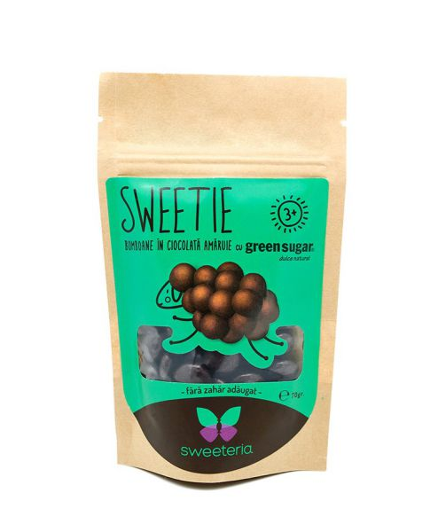 Bomboane Sweetie in ciocolata amăruie, cu Green Sugar, 70g