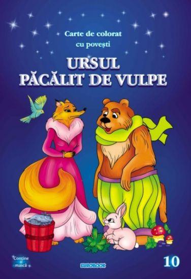Ursul pacalit de vulpe: carte de colorat cu povestiA4