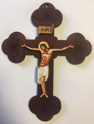 ÷ Cruce gravată din lemn pentru perete
