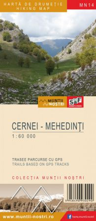 Munţii CERNEI - Harta de drumeţie