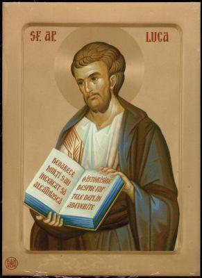 × Icoană Sfântul Apostol Luca - litografie pe lemn