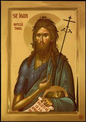 × Icoana Sfântul Ioan Botezătorul - litografie pe lemn