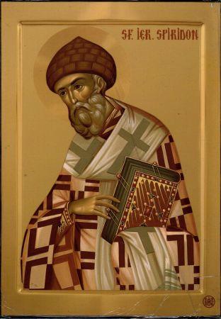 × Icoană Sfântul Ierarh Spiridon - litografie pe lemn
