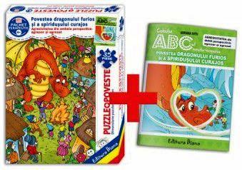 Povestea dragonului furios și a spiridușului curajos (cutie cu Poveste terapeutică + Set Puzzle)(copii minim 4 ani)
