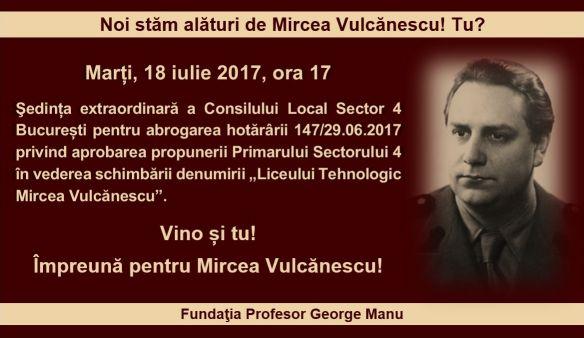 Noi stăm alături de Mircea Vulcănescu! Tu?