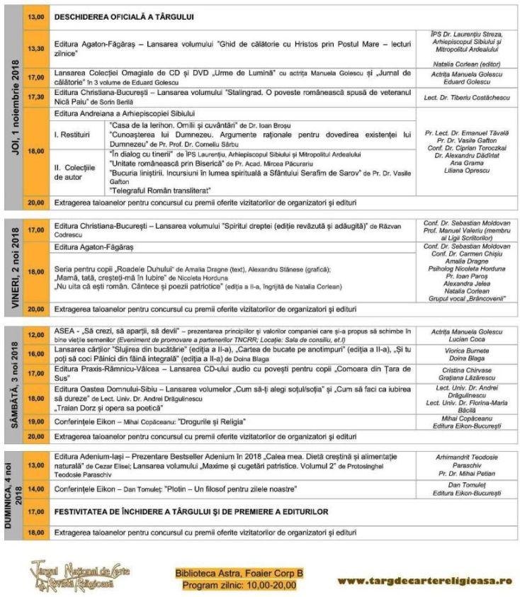 Programul Târgului de Carte Religioasă (Sibiu, ed. XVIII, 1-4 noiembrie 2018)