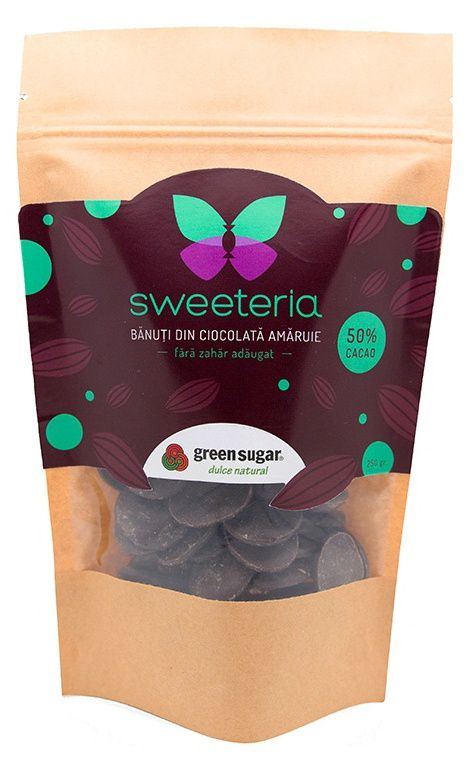 Banuți din ciocolata amăruie (50% cacao), cu Green Sugar (250 gr) -   *** (Naturiste)
