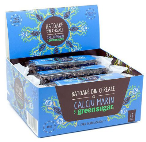 Baton cereale cu cacao + Calciu marin și Green Sugar