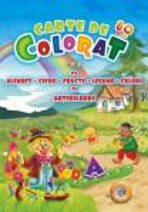 Carte de colorat vol. 2 cu alfabet, cifre, fructe, legume, culori si abtibilduri A4