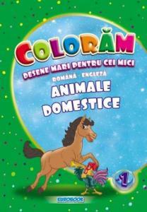 Carte de colorat cu desene mari: Animale domestice B5