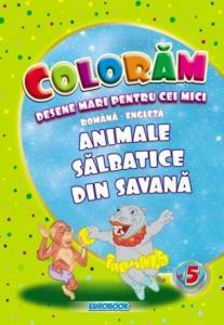 Carte de colorat cu desene mari: Animale salbatice din savana B5