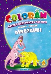 Carte de colorat cu desene mari: Dinozauri B5