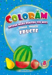 Carte de colorat cu desene mari: Fructe B5