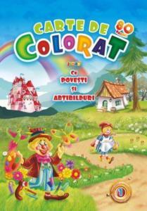 Carte de colorat vol. 1 cu povesti si abtibilduri A4